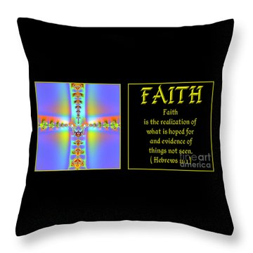 Throw Pillow featuring the digital art Fractal Faith Hebrews 11 by Rose Santuci-Sofranko