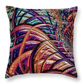 Throw Pillow featuring the painting Fractal Farrago by Susan Maxwell Schmidt