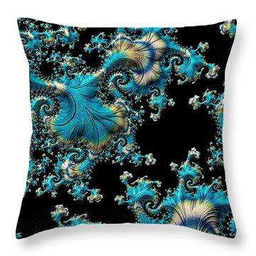 Fractal Filigree Blue Throw Pillow