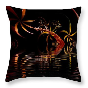 Fractal Fireworks Reflections Throw Pillow