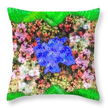 Fractal Flower Garden Throw Pillow by Diamante Lavendar
