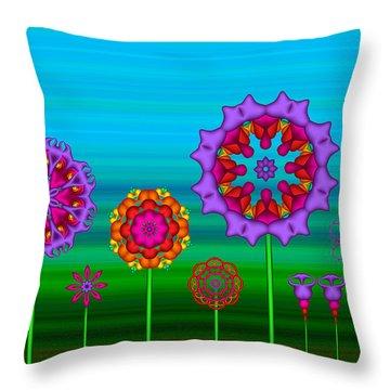 Whimsical Fractal Flower Garden Throw Pillow