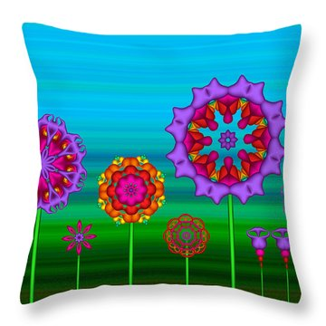 Whimsical Fractal Flower Garden Throw Pillow