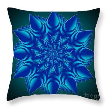 Fractal Flower In Blue Throw Pillow