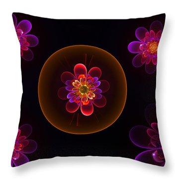 Fractal Flowers Throw Pillow