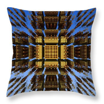 Throw Pillow featuring the digital art Fractal Fragments Of A Golden Box by Richard Ortolano