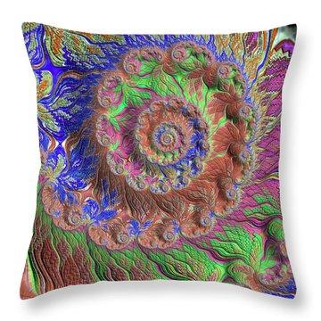 Throw Pillow featuring the digital art Fractal Garden by Bonnie Bruno