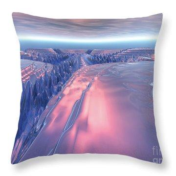 Fractal Glacier Landscape Throw Pillow