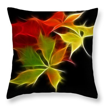 Fractal Leaves Throw Pillow by Teresa Zieba