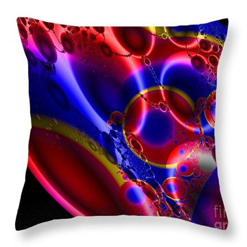 Fractal Luminescent Coloured Moon Throw Pillow