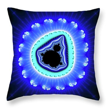 Fractal Mandelbrot Set Blue Aqua Black Throw Pillow
