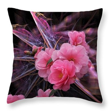 Fractal Meets Camellia  Throw Pillow