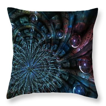 Fractal Moons Throw Pillow