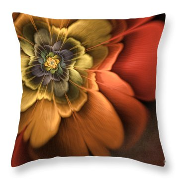 Fractal Pansy Throw Pillow by John Edwards