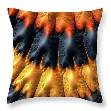 Throw Pillow featuring the digital art Fractal Pattern Orange And Black by Matthias Hauser