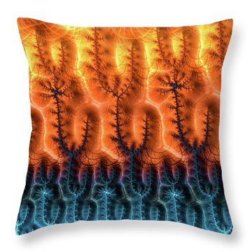 Throw Pillow featuring the digital art Fractal Pattern Orange Brown Aqua Blue by Matthias Hauser