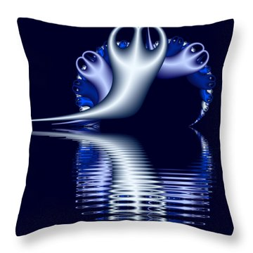 Fractal Peeble Ghosts Throw Pillow