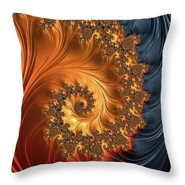 Throw Pillow featuring the digital art Fractal Spiral Orange Golden Black by Matthias Hauser