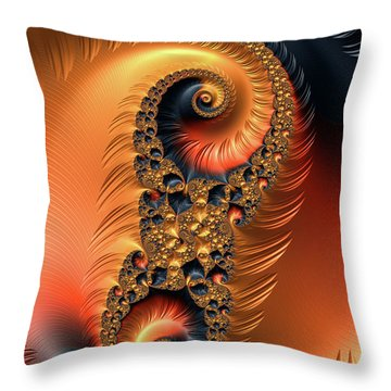 Throw Pillow featuring the digital art Fractal Spirals With Warm Colors Orange Coral by Matthias Hauser