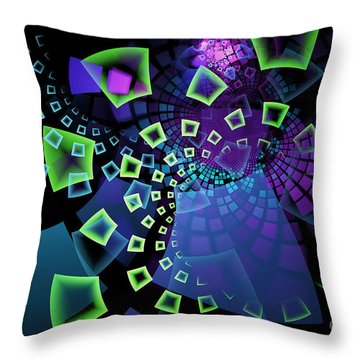 Fractal Tiles Swirling Throw Pillow