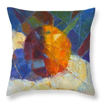 Fractured Orange Throw Pillow by Susan Woodward