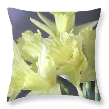 Fragile Daffodils Throw Pillow by Jacqi Elmslie