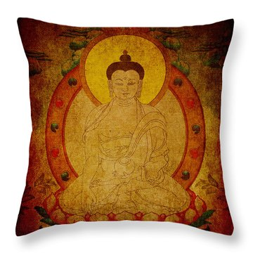 Fragmentary Thangka Throw Pillow