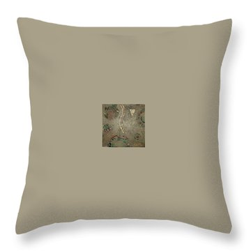 Throw Pillow featuring the painting Fragments From Atlantis by Bernard Goodman