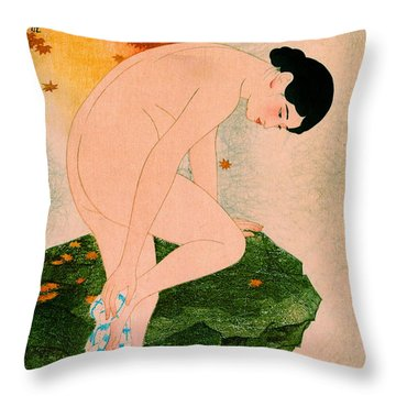 Fragrant Bath 1930 Throw Pillow by Padre Art