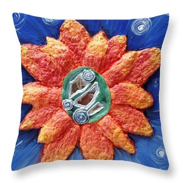 Fragrant Planet Throw Pillow by Catt Kyriacou