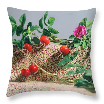 Throw Pillow featuring the photograph Fragrant Rugosa Rose With Rosehips And Leaves by Nancy Lee Moran