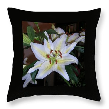 Fragrant White Lily Throw Pillow by Valerie Ornstein
