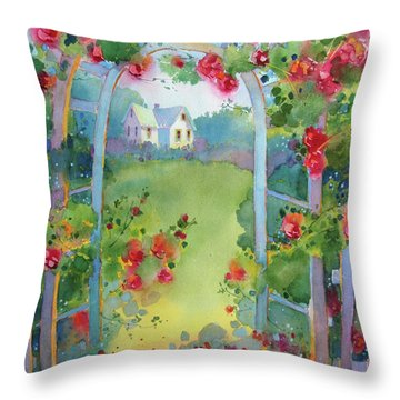 Framed By The Roses Throw Pillow