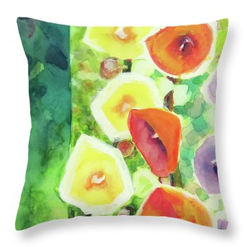 Throw Pillow featuring the painting Framed In Hollyhocks by Kathy Braud