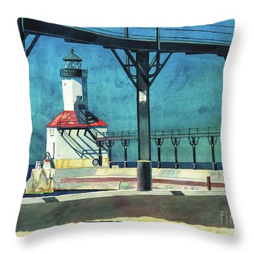 Throw Pillow featuring the painting Framed Lighthouse by LeAnne Sowa