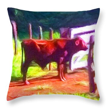 Franca Cattle 2 Throw Pillow by Caito Junqueira