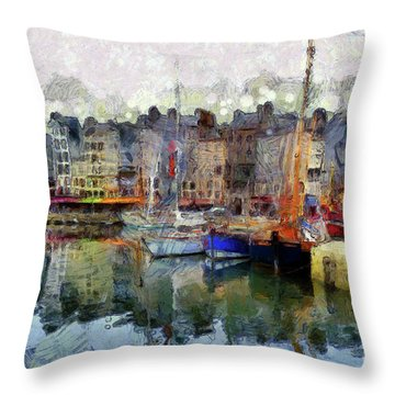France Fishing Village Throw Pillow by Claire Bull