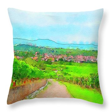 France Landscape Throw Pillow