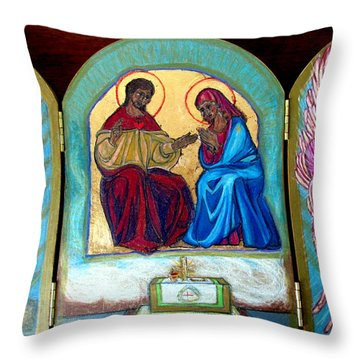 Francis And Claire Triptich Throw Pillow