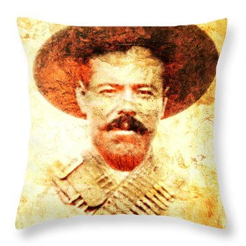 Francisco Villa Throw Pillow by J- J- Espinoza
