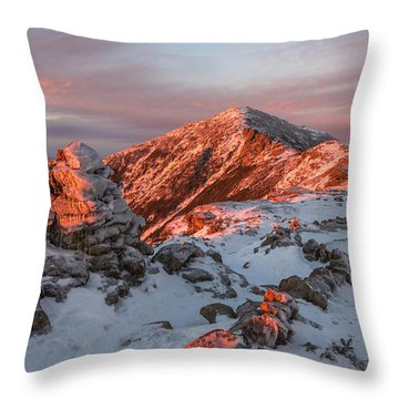Franconia Ridge Alpenglow Throw Pillow