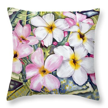 Frangipani 3 Throw Pillow