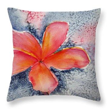 Frangipani Blue Throw Pillow