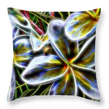 Frangipani Fractal Throw Pillow