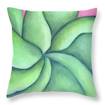 Frangipani Green Throw Pillow