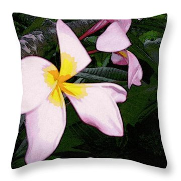 Throw Pillow featuring the digital art Frangipani Moment by Winsome Gunning