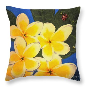 Frangipani With Lady Bug Throw Pillow by Sandra Phryce-Jones
