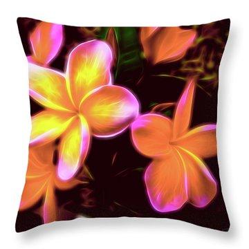 Frangipanis On The Glow Throw Pillow