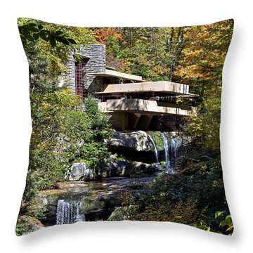 Frank Lloyd Wrights Fallingwater Throw Pillow by Brendan Reals