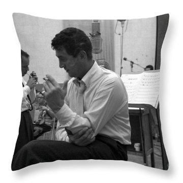 Frank Sinatra And Dean Martin At Capitol Records Studios Throw Pillow by The Titanic Project